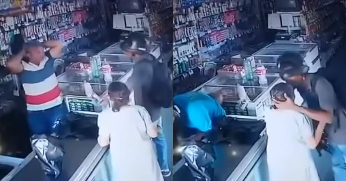 Video shows armed robber calming elderly lady instead of taking money