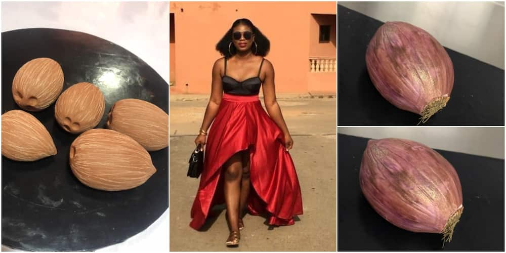 They look so real: Massive reactions as talented Nigerian baker moulds onions and coconuts with flower