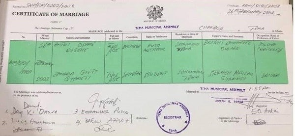 Alleged Marriage certificate of Asamoah Gyan's wife and alleged husband pops up