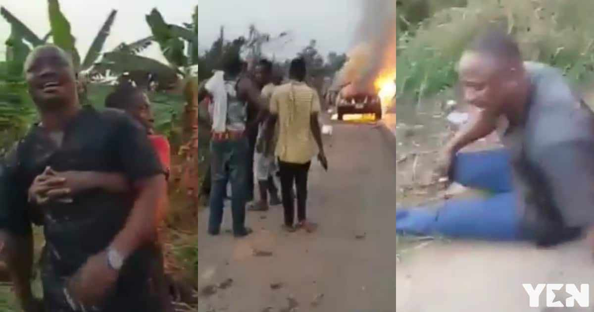 Man weeps after car he borrowed to attend funeral gets burnt on the road (video)