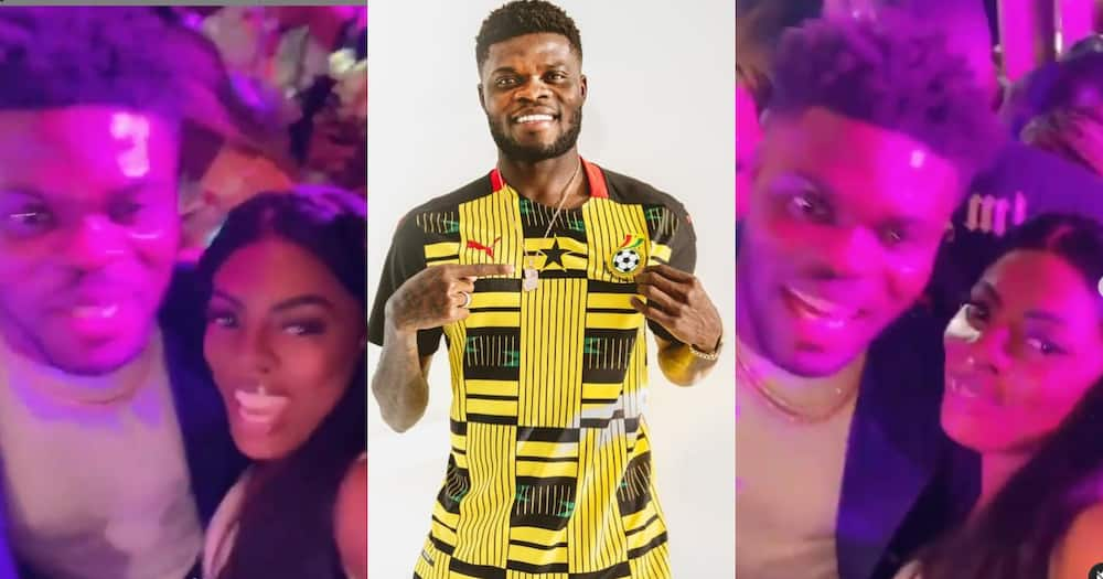 Videos from Partey's 28th b'day party pop up; Nana Aba spotted chilling with Arsenal star