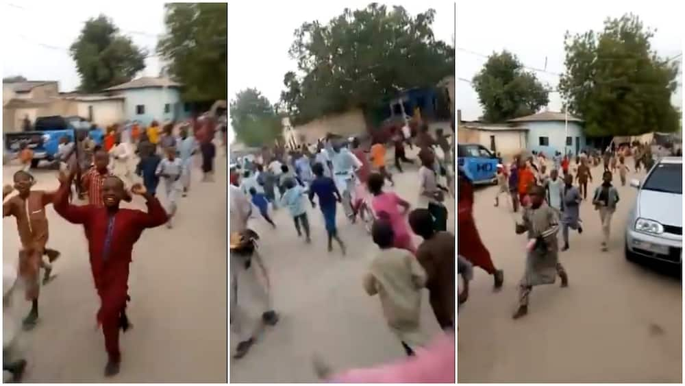 Up NEPA: Children jubilate loudly in the street as electricity is restored in Maiduguri after '56 days'