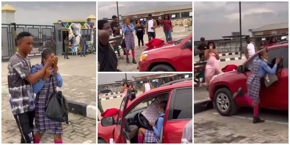 Nigerians react as young man gifts his JSS 1 girlfriend a new SUV car in video