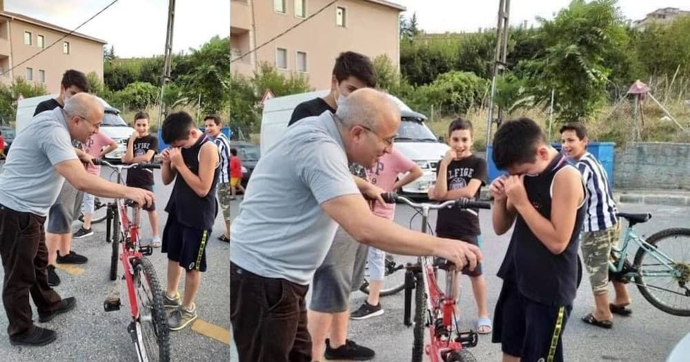 Kid given new bike after denting motorist's car with old one