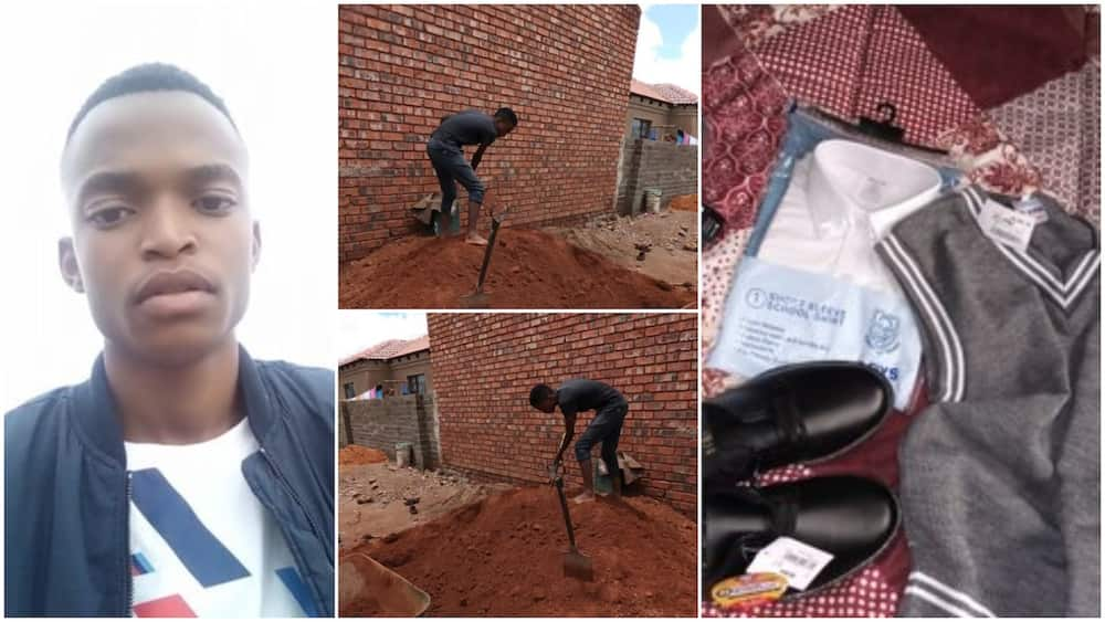 Young man goes petty construction work, makes money to buy himself new school uniform, sandals