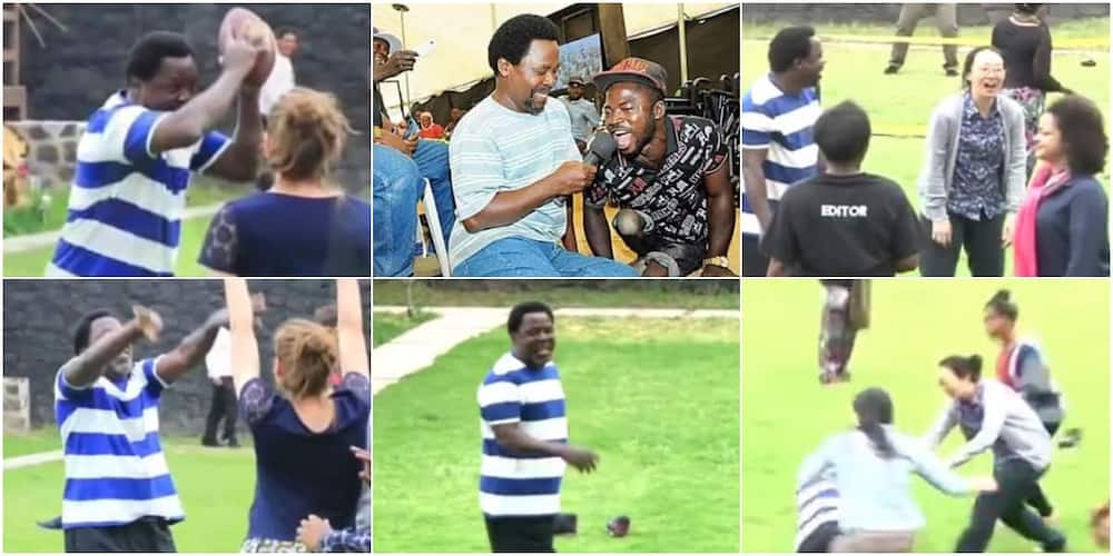 TB Joshua's pic with physically challenged man & video of him playing ball with church members stir reactions