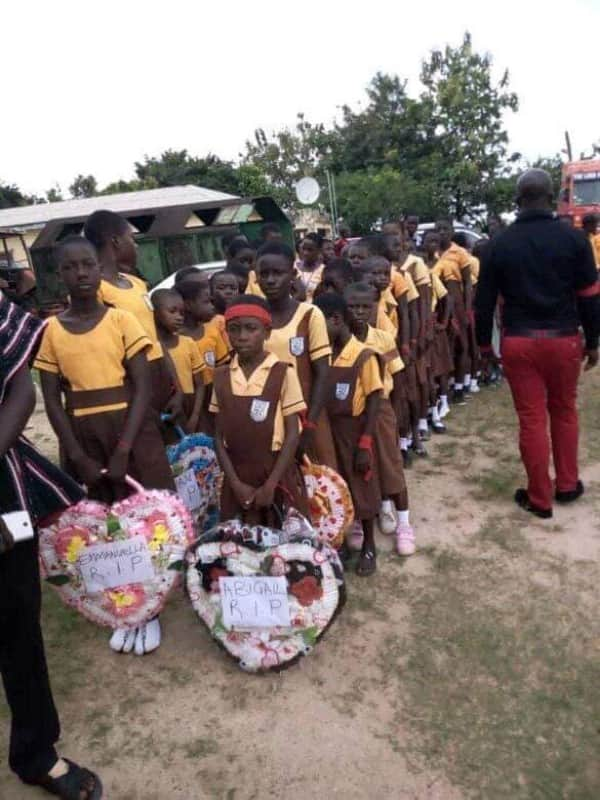 Photos: 5 schoolgirls killed by articulator truck at Assin Atobease buried