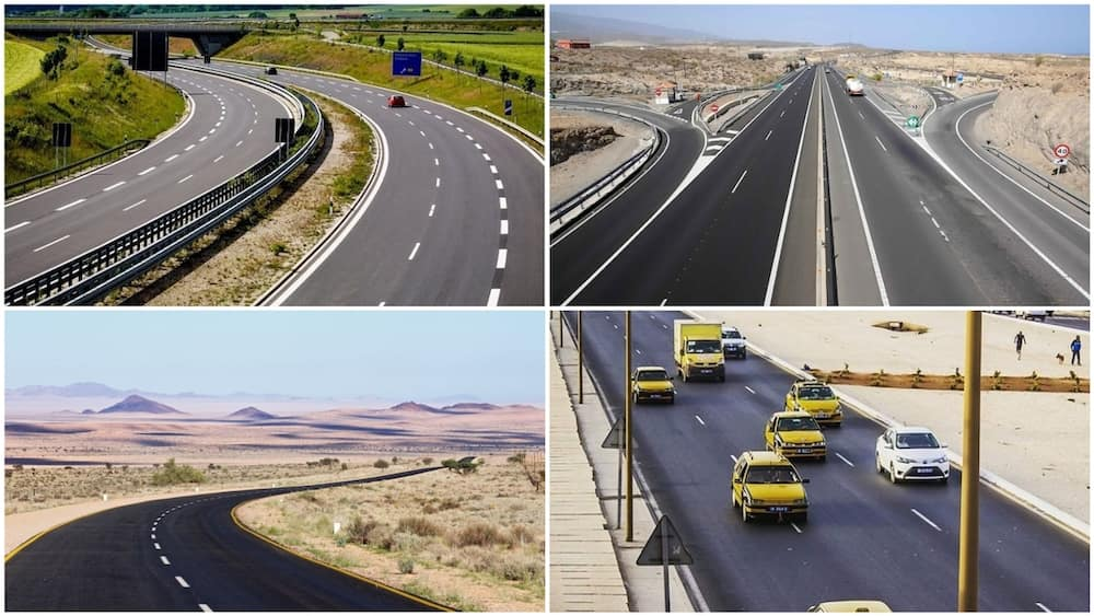 A collage of roads in Egypt, Namibia, Rwanda, and Senegal. Photos sources: Cairo Scenes/ConstructionReview/Siir Oumar