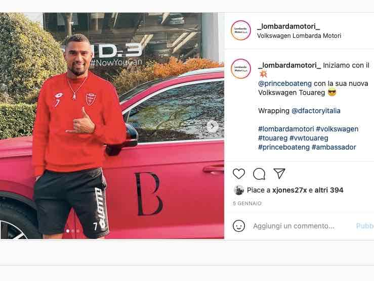 Ghanaian forward Kevin Prince-Boateng adds a new SUV to his collection of cars