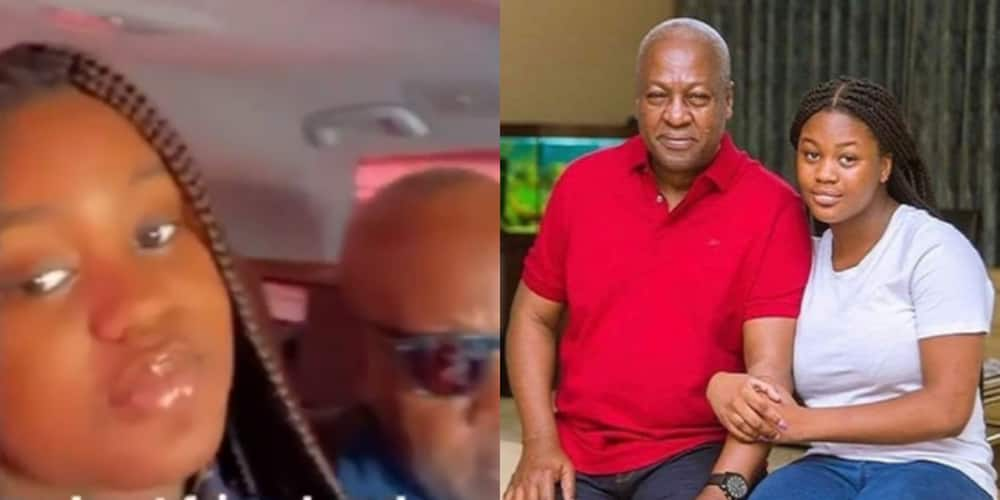 Rare video of Mahama cruising in town with his beautiful daughter Farida pops up