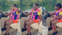 Stonebwoy's daughter Jidula fearlessly rides modernised boat on water in new video; Ghanaians amazed