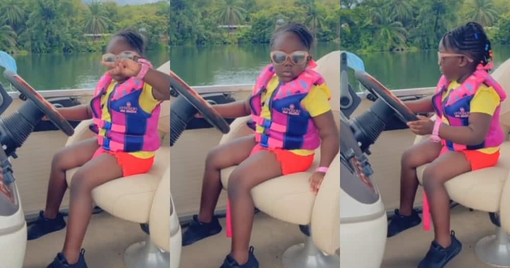 Jidula: Stonebwoy's Daughter Rides boat on Water in new Video; Ghanaians hail her