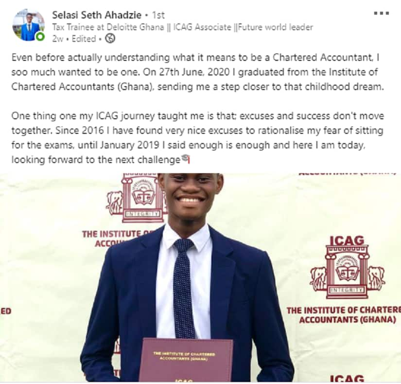 22-year-old Ghanaian graduates from Institute of Chartered Accountants