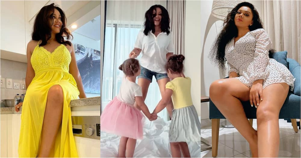 Mother of the Year - Fans say as Nadia Buari drops Bedroom Video having Fun with Twin Daughters