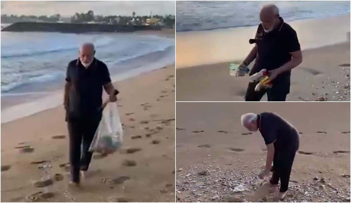 Indian Prime Minister Narendra Modi picks litters from beach during early morning walk