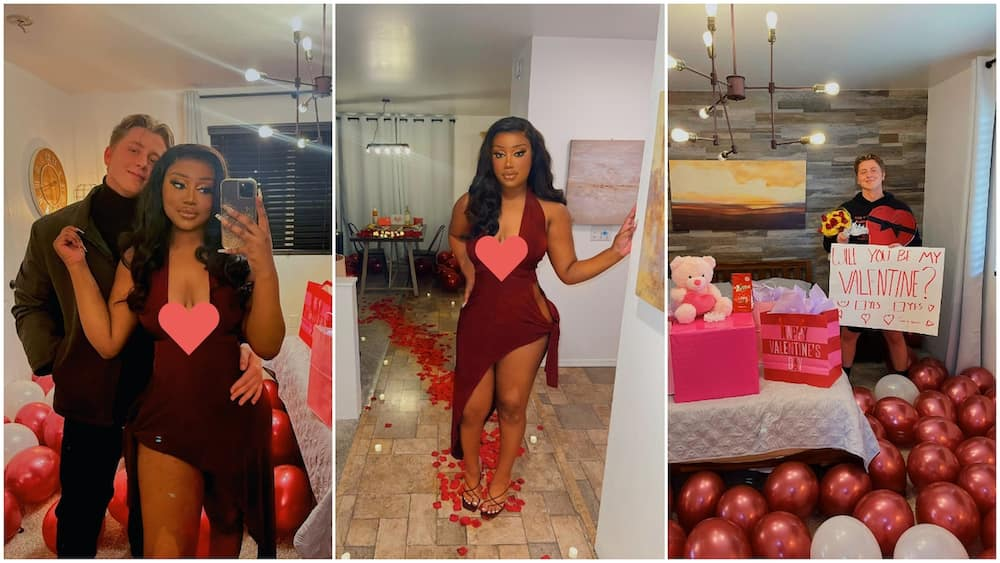 Young black lady shows off white boyfriend on Valentine's Day, their photo together gets people talking