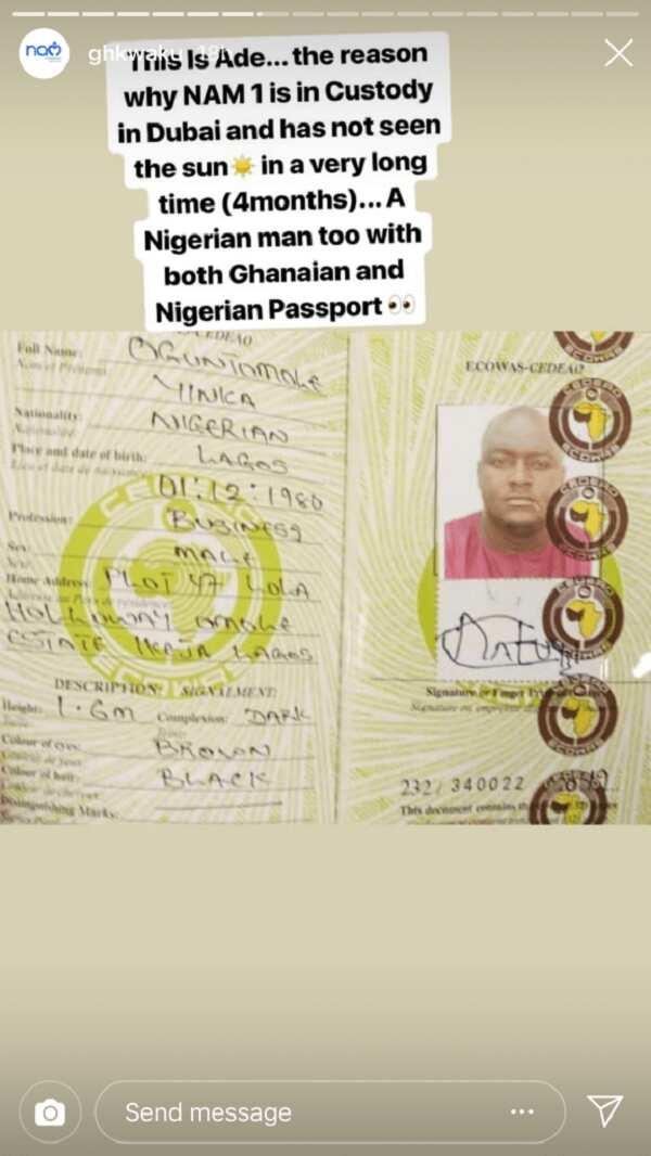 Document of Nigerian man allegedly behind NAM1's arrest in Dubai leaked (Photo)