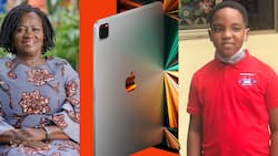Prof Jane Opoku Agyemang surprises Our Day boy Oswald with a big gift