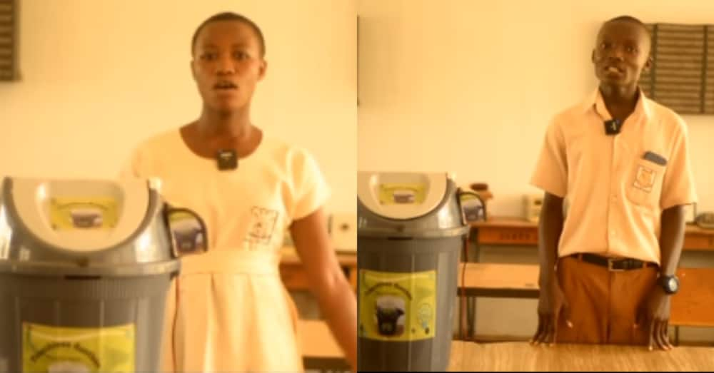 Obuasi SHTS students make bin that opens without touching it