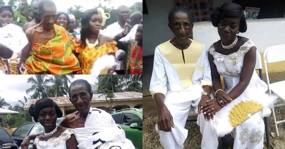 Wedding photos and video of old 106-year-old Ghanaian man and young wife go viral