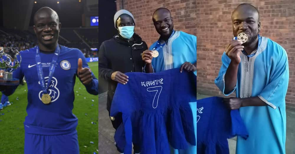 N'Golo Kante: Ghanaian Man Gifts Chelsea Star Customised Smock After Champions League Win