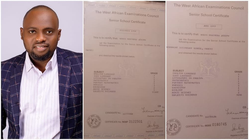 Nigerian man shows off his 1997 WAEC results, thanks his parents for making him study hard