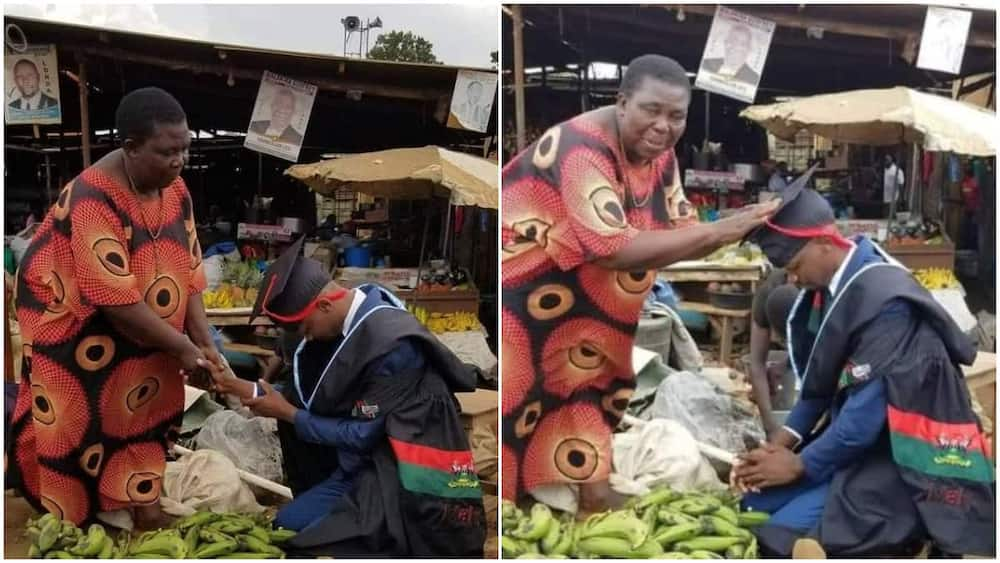 Young man kneels for his mum in market place, thanks her for all her sacrifices