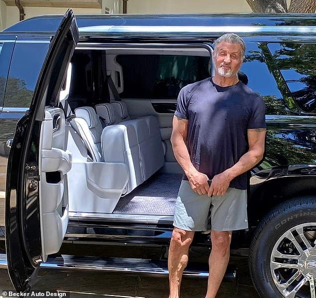 Actor Sylvester Stallone selling his multi-million stretched Cadillac Escalade for $324, 234