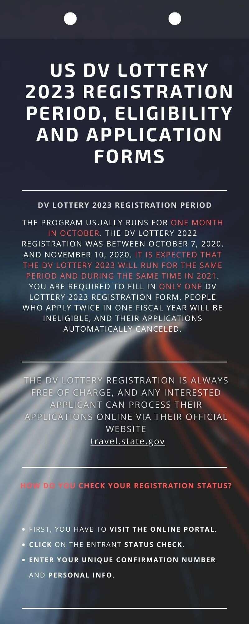 US DV lottery 2023 registration