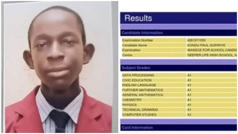 16-year-old boy scores A1 in all his WAEC subjects