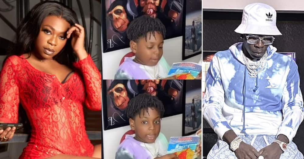 Majesty: Shatta Wale And Michy's Son Reads Like An American Boy In New Video; Fans Praise His Mom