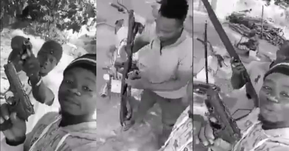 All my girlfriends have left me after I went viral - Man seen flaunting guns cries (video)
