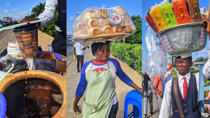 Ghanaian hustle partners wow many as they hawk asaana & bread on the streets of Accra