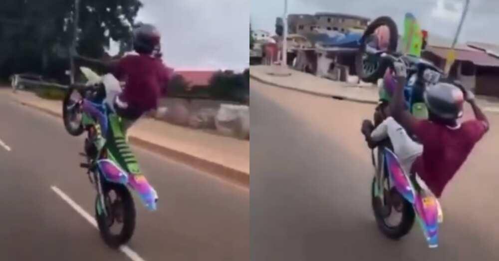 Ghanaians display amazing motorbike skills on busy road in video