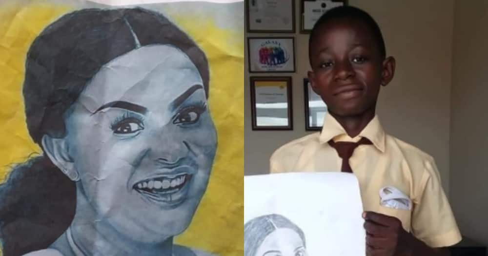 Talented Form 3 student stuns with drawing that looks just like Nana Ama McBrown