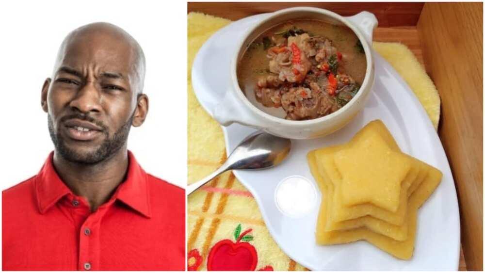 Nigerians react to trending photo of '5 star' eba at fancy restaurant