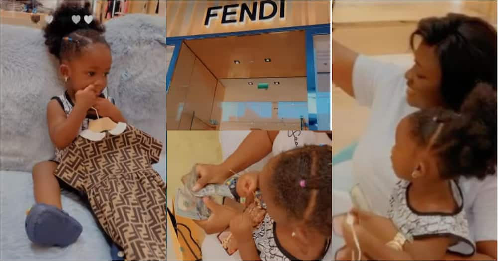 Rich Mama: Tracey Boakye Blows Dollars on Clothing for Daughter at Fendi shop in Dubai