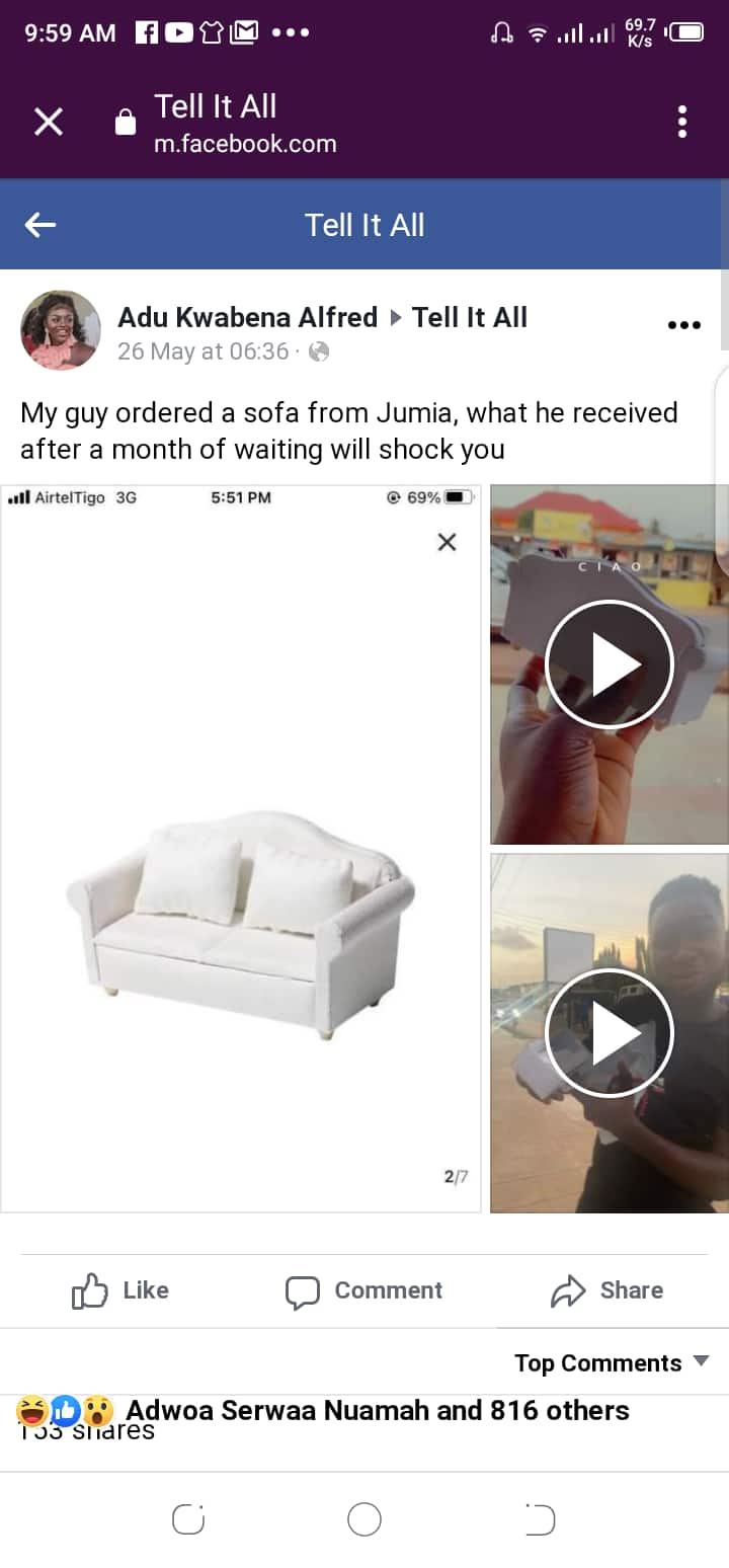 Man Orders sofa on Jumia for GHc 150; Receives it After 1 Month & Sees true size