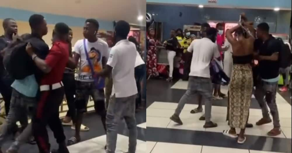 Man makes lady publicly remove all he bought for her after seeing her with another man