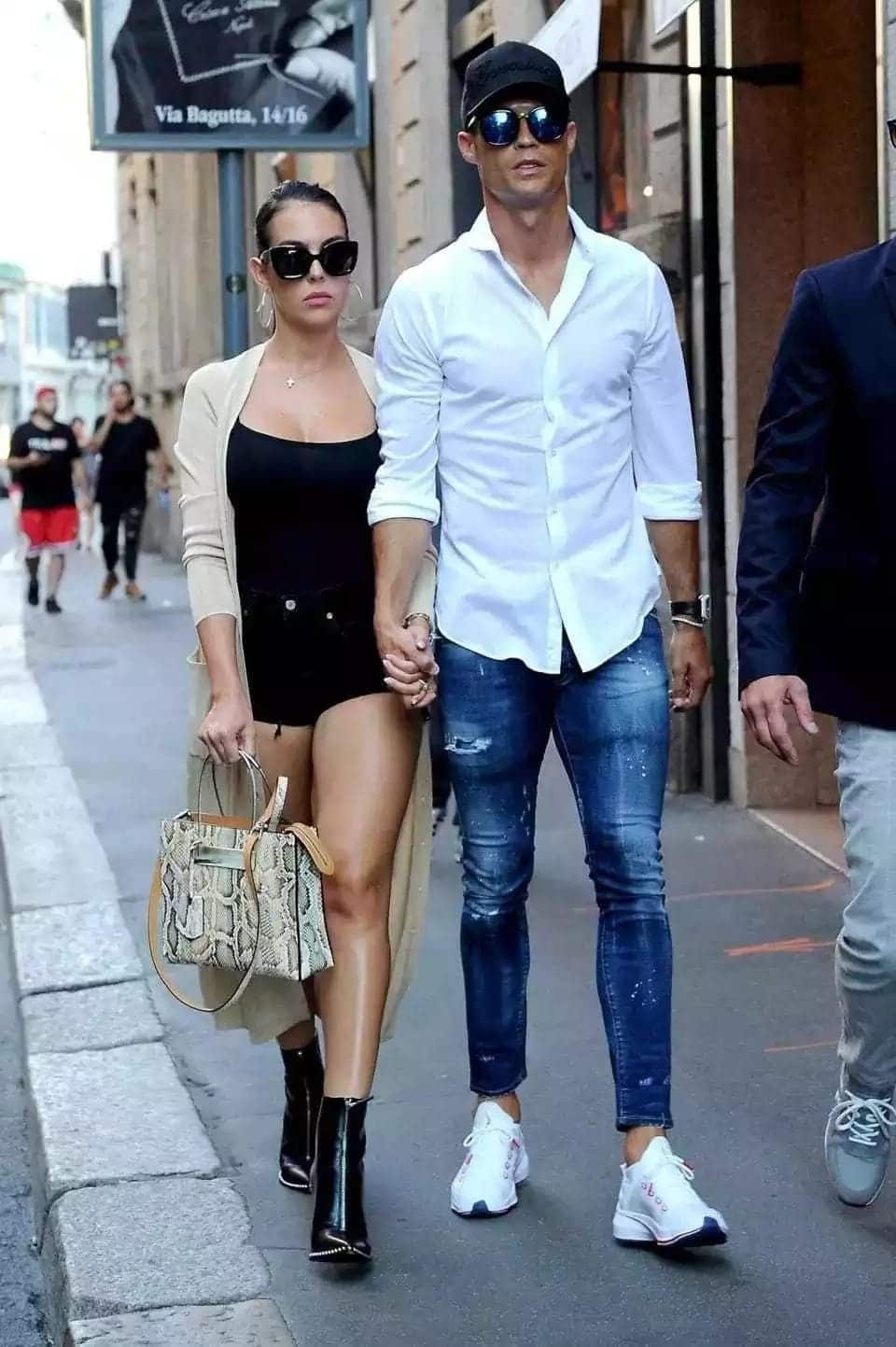 Ronaldo heads out with girlfriend Rodriguez in Milan