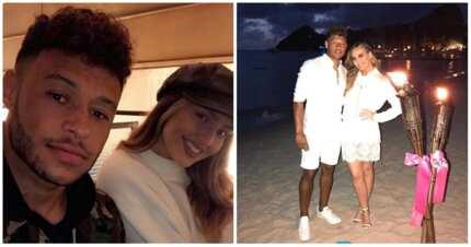 Liverpool midfielder Alex Chamberlain cuddles up with girlfriend Perrie Edwards