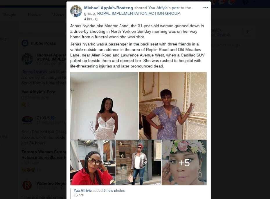 31-year-old Ghanaian lady Jenas Nyarko shot and killed at a funeral in Canada