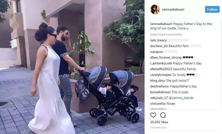 "Nadia Buari with her ""obroni"" babies daddy and their beautiful twin girls"
