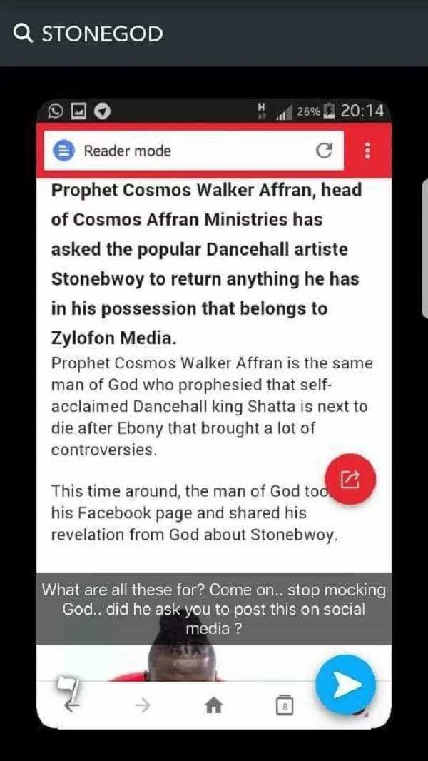 Stonebwoy's response to Prophet Affran