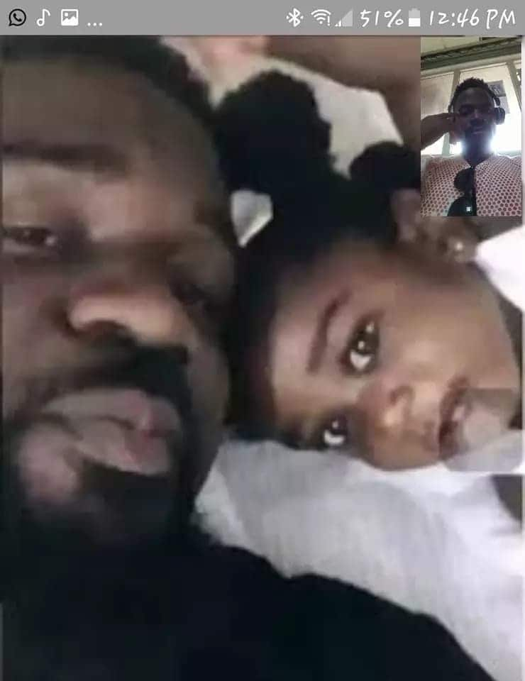 The screenshot of Sarkodie and the Cameroonian on the video call. At the far right top corner is the rapper. Photo credit: Facebook.