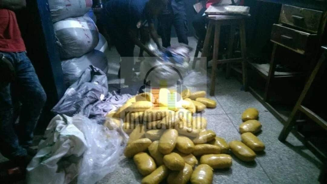Slabs of a substance suspected to be Indian Hemp