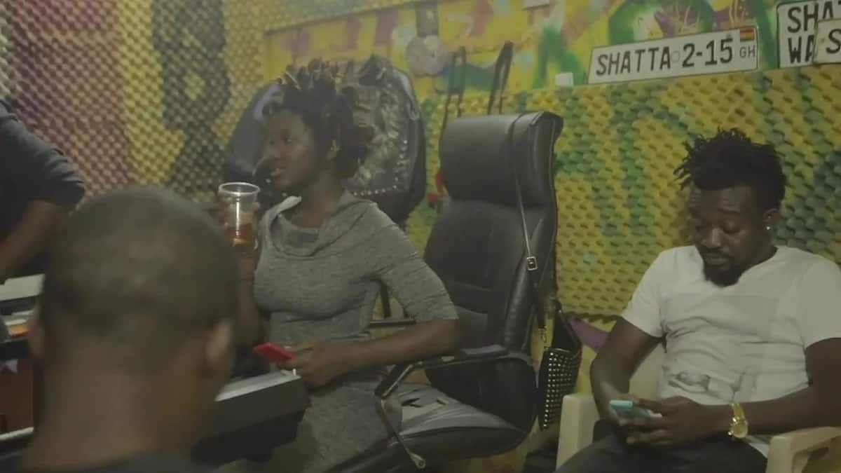 Ebony with Bullet of Ruff n Smooth at Shatta Wale's studio