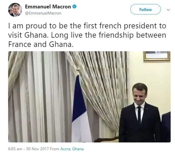 I'm so proud to be in Ghana - French president