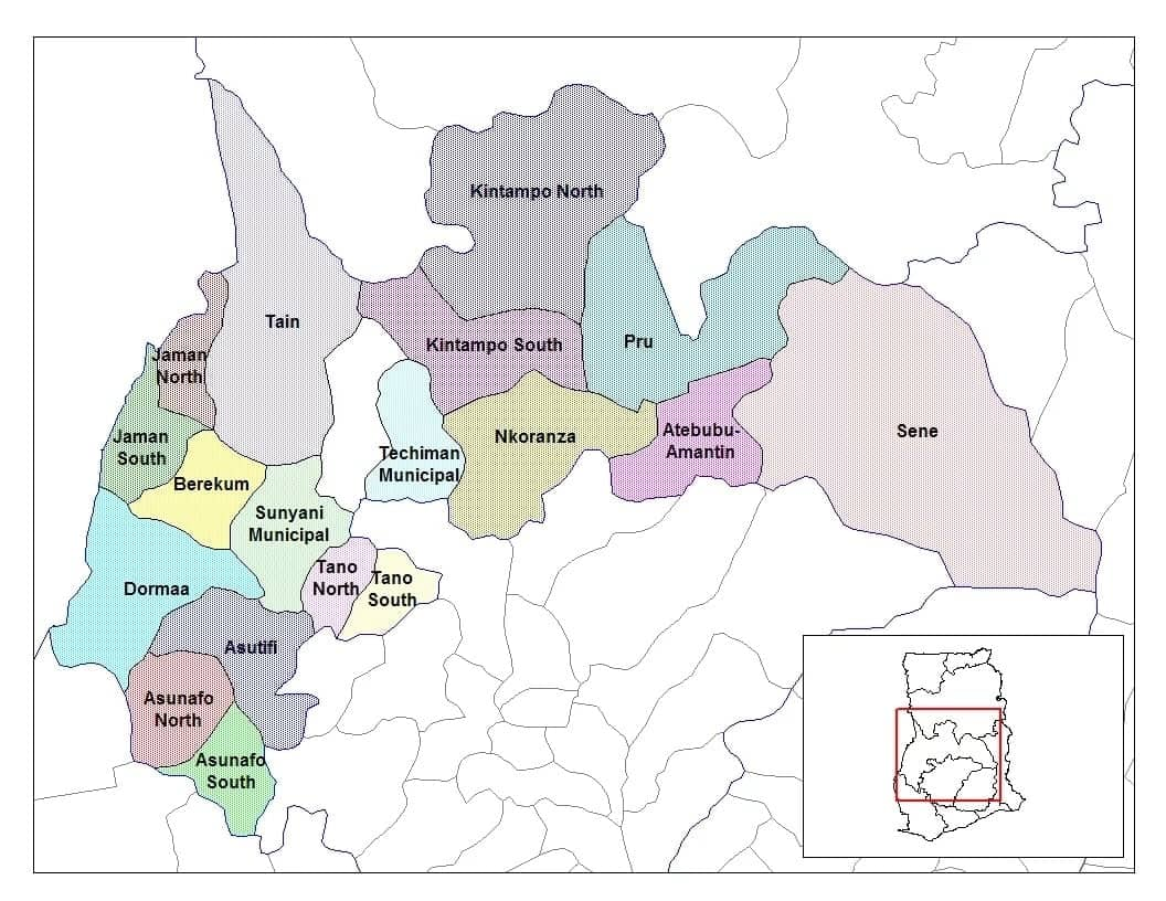 Districts in Brong Ahafo Region and Their Capitals