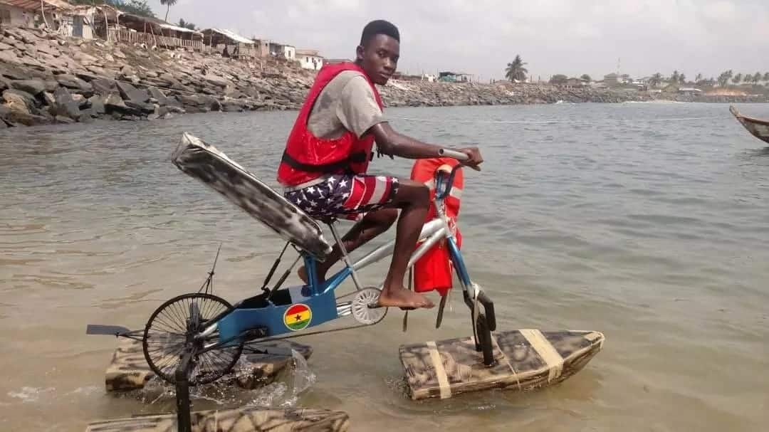 The Ghanaian inventor who built a bicycle purposely made for water-bodies shares exclusive videos with YEN.com.gh